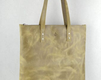 Leather shopper army green