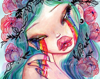 Haunted Bliss, Pop surrealism FANTASY  Fine Art Print  Natasha Wescoat 8x10 12x16 13x19 16x20