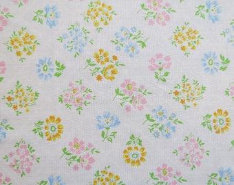 Vintage Sheet Fabric Fat Quarter - Pastel Floral Blocks