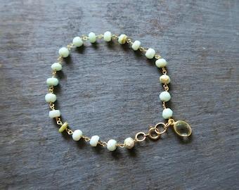 Opal and Green Amethyst Bracelet   Opal Bracelet   Opal Jewelry   Opal Jewellery   October Birthstone Jewelry   Green Amethyst Bracelet