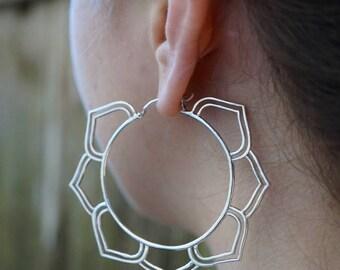 Sterling Silver Hoop Earrings - Best Hoop Earrings for Her - Mandala Hoops - Chakra