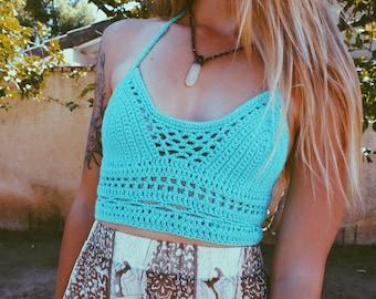 Risa Crop Top. Hand Crocheted Bohemian Festival Top. Vegan Friendly Cotton Crochet. More Colors!