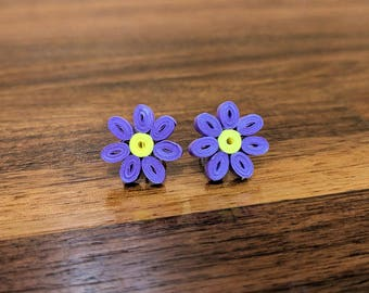 Purple Flower Stud Paper Quilling Earrings | 1st Paper Anniversary Gift for Her | Stainless Steel Hypoallergenic for Sensitive Ears