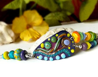 Deep Purple - Boho Unique Lightweight Bracelet - Lampwork beads  and Sterling Silver -Enameled Copper Art by Michou P. Anderson