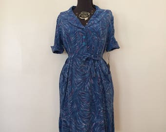 Vintage Plus Size Dress / Large/XL / Cotton Day Dress