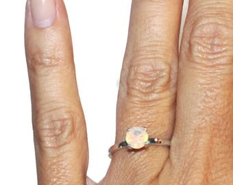 Opal Engagement Ring, Sterling Silver Promise Ring, One Carat Solitaire Ring