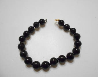 Vintage Black Beaded (2119)  7mm Individually Knotted