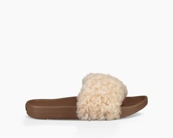 Custom Crystal UGG Australia Royale Ivory Neutral Curly Wool Toscana Fur Slide Slippers w/ Swarovski Rhinestone Jewel Flip Flop Slip On Shoe
