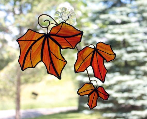 Stained Glass Red Maple Tree Branch with Leaves Sun Catcher, Red Orange Streaky