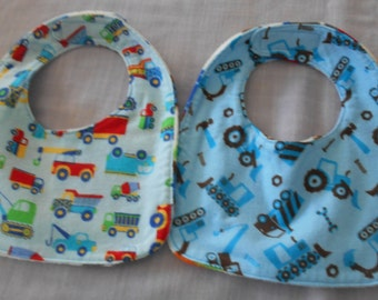 Construction vehicle BABY BIBS with Velcro Fastner