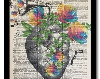 Dictionary Page Print, Anatomical Heart with Flowers, Floral Heart, Anatomical Heart Rainbow Roses 8x10, Music Of the Heart Dictionary print