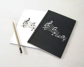 NEW. Music Journal. Embroidered A5 Notebook. Notes on Pentagram. Music Lover Gift. Embroidered Journal. Music Notes Notebook. Music Notebook