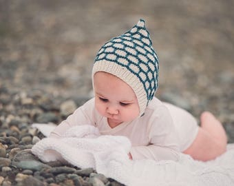 Hand knitted Pixie Bonnet. Baby bonnet. Baby Hat. Pixie Hat. Accessories. Made to order.