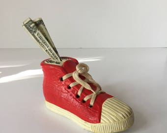 Shoe Savings Bank, Vintage Hightop Piggy Bank, Sneaker Rainy Day Fund, Basketball Shoe Penny Jar, Red Ceramic Shoe, Super Star Shoe