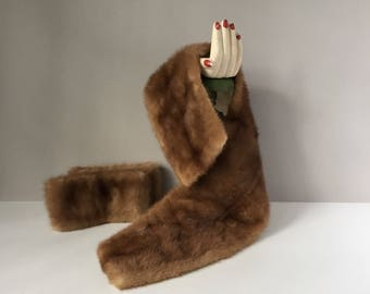 Mink Collar and Cuffs, Vintage Fur Collar, Coat Collar and Cuffs, Brown Mink Fur for Repurposing, Glam Accessories