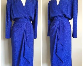 Vintage BRIGHT BLUE DRAPED Dress/Wrap-Dress/ size Medium