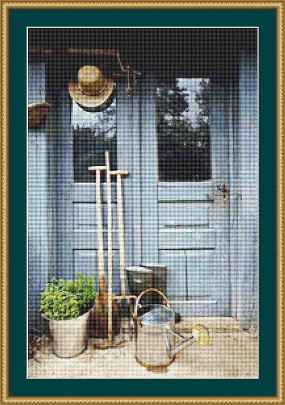 Gardening tools cross stitch pattern digital pdf files for Gardening tools list pdf