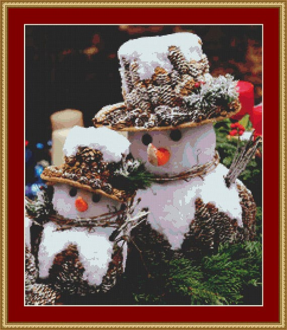 Snowmen Cross Stitch Pattern /Digital PDF Files /Instant downloadable