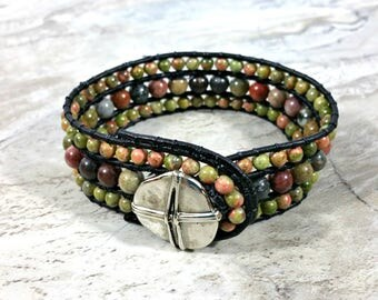 Earthy Leather Beaded Cuff Bracelet for Women, Mens Bead Cuff, Leather Cuff Bracelet Beaded, Beaded Leather Wrap, Gift, For Men