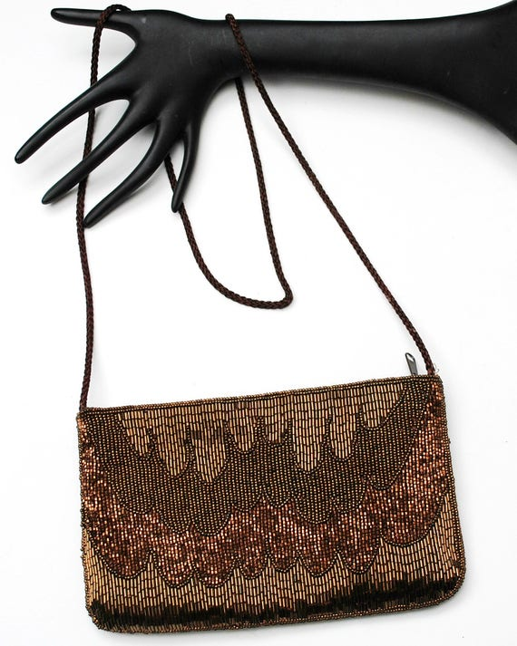 Brown Carla Marchi Beaded Evening Bag -  Brass Clutch purse - Seguence