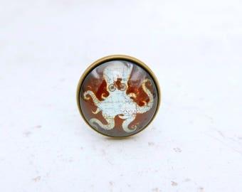 Octopus Ring, steampunk jewelry, 2020B