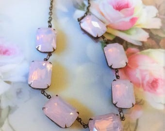 Pink Crystal Rhinestone Necklace, Rosewater Opal Rhinestone Collet Necklace, Anna Wintour Necklace, Crystal Necklace Bertha Louise Designs