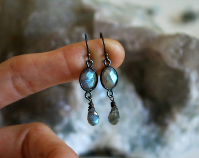 Petite Blue Labradorite Sterling Silver Drop Earrings