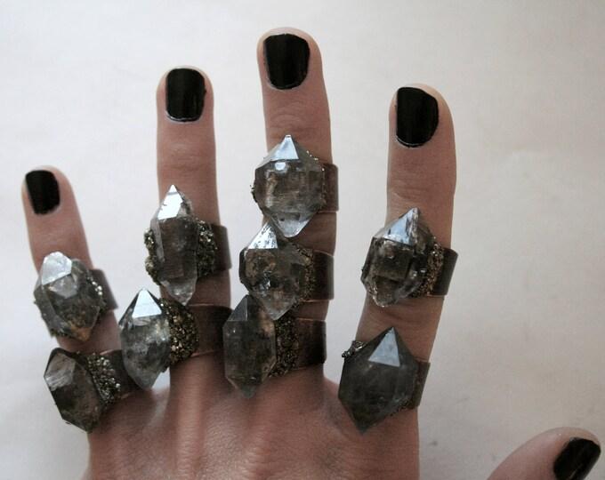 Tibetan Pale Smoky Quartz Crystal Ring - Small Size Crystal