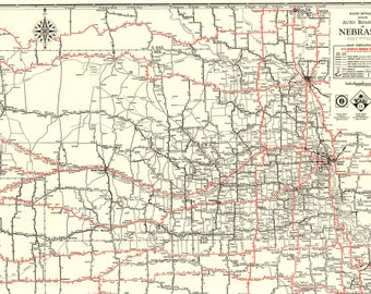 Vintage nebraska map etsy 1931 rare size antique nebraska state map vintage auto road map black and white gallery wall sciox Choice Image