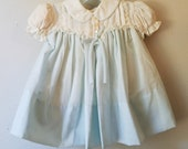 Vintage Girls Blue Dress with White Peter Pan Collar by C.I. Castro - Size 12 months- New, never worn