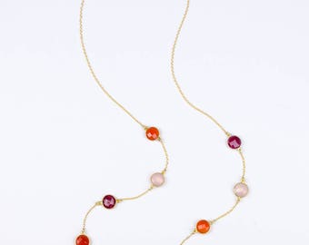 Ruby, Carnelian, Pink Chalcedony necklace, long necklace, gold station necklace, Red necklace, Orange Lollipop necklace, statement necklace