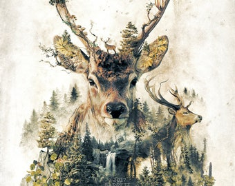 The Deer my original art nature animals surrealism forest rustic artwork signed premium quality giclée print