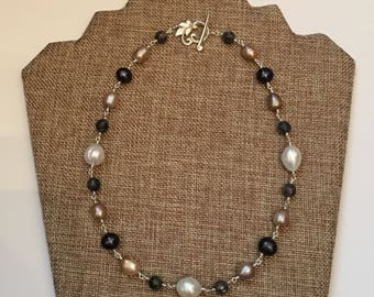 """18"""" Freshwater Pearl, Labradorite Wire Wrapped Necklace"""