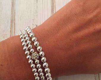 Sterling silver set of three bracelets