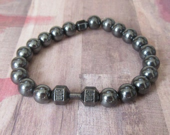 Fitness, Gun Metal Gym Barbell Stretch Beaded Bracelet with Heavy Gray Beads