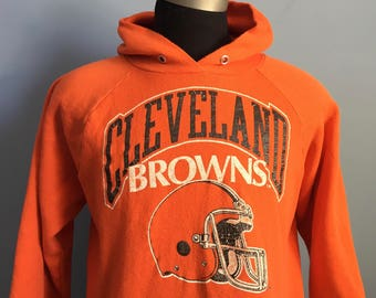80s Vintage Cleveland Browns nfl football hooded Sweatshirt - XL X-LARGE