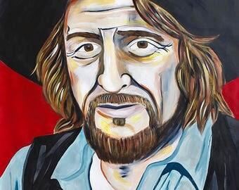 Original Waylon Jennings Painting by Natalie Jo Wright Portrait Art Pop Art Contemporary Art Musician Portrait Outlaw Country