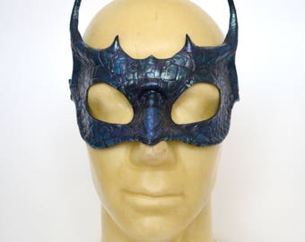 Blue and Green Iridescent Leather Dragon Masquerade Mask Game of Thrones House Targaryen Inspired Cosplay