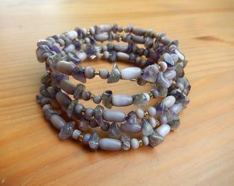 Beaded Boho Layered Bracelet - Purple, Amethyst - Handmade Memory Wire Bracelet - Boho, Hippie, Bohemian