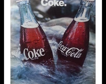 Coca-Cola ad 60s 'It's the Real Thing' Ice cold river.  Tubing or Camping memories.  Man Cave Art.  Fun Ad. Ready for Framing.