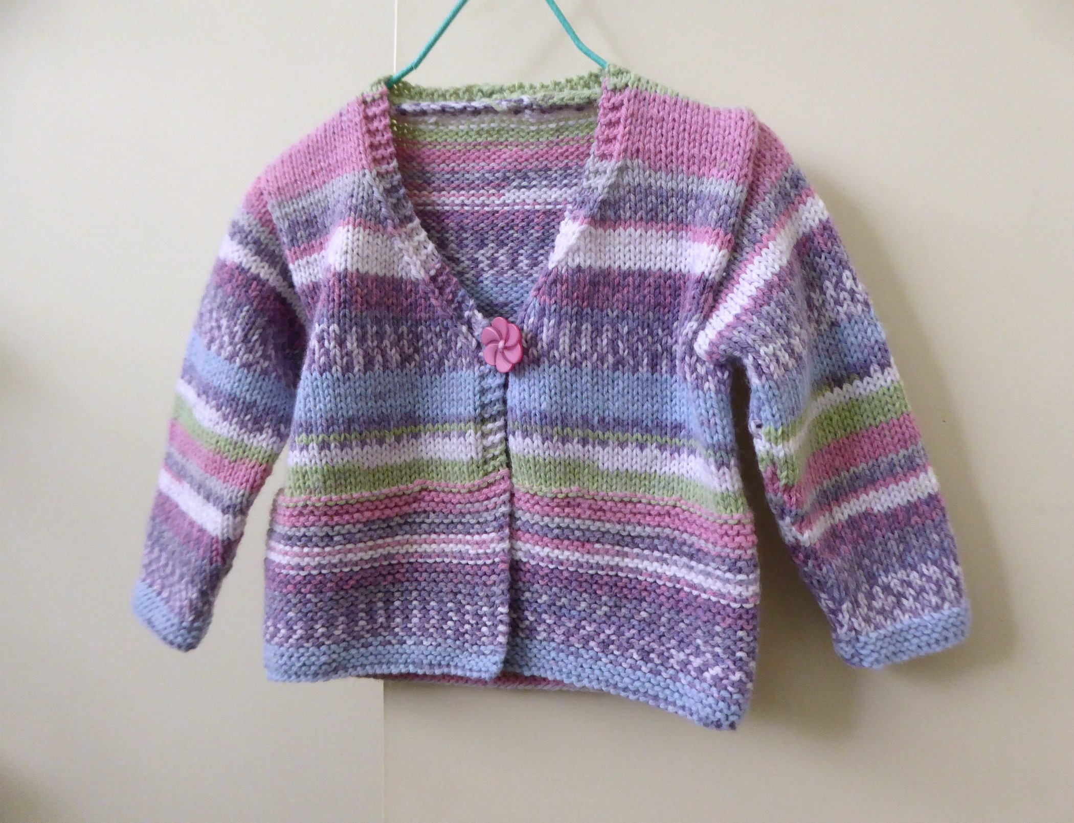 Hand knit baby sweater, hand knitted baby cardigan, girls sweater ...
