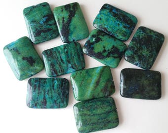 Chrysocolla stone beads 30x22  11 beads