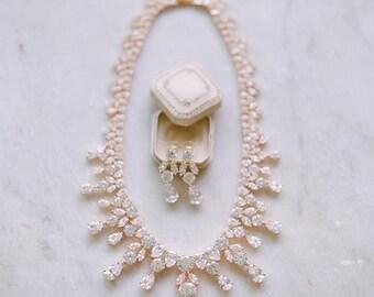Bridal Necklace, BRIANNA Swarovski Crystal Necklace, Gold Bridal Statement Necklace, Wedding Jewelry, Necklace Set, Cubic Zircona Necklace