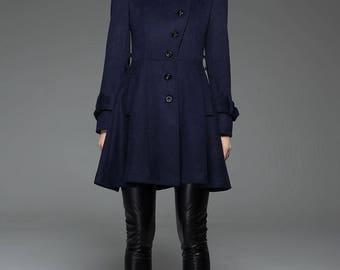 Womens Coats, midi Coat, wool coat, jacket, blue coat, swing coat, Winter Coat, fit and flare coat, coat, jacket, Asymmetrical coat C750