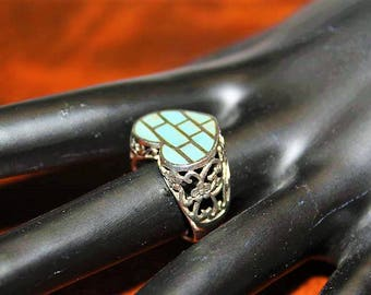 Vintage Sterling Silver Turquoise Sleeping Beauty Inlay Heart Valentine Ring Sz 6 RG2