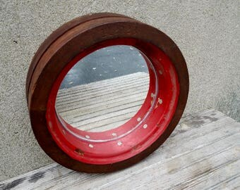 Antique Mahogany Industrial Foundry Mould Repurposed Mirror