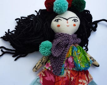 "12"" Frida Kahlo Doll, Art Doll, Handmade Doll, OOAK Doll, Little Frida Doll, Rag Doll,"