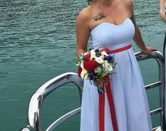 Custom Made Wedding Gown Lucinda  Strapless Sweetheart Seersucker Pleated Skirt Train Bustle Sash Misses Plus Size Made in USA Beach Wedding