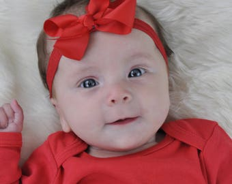 Red Headband, Baby Headband, Red Bow Headband, Baby Headbands, Newborn Headband, Infant Headbands, Christmas Bow, Christmas Headband