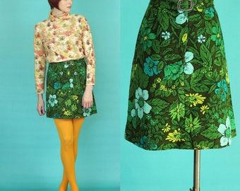 60s Mini Skirt - Green Floral Skirt - 60s Mod Skirt - Short Skirt - Tropical Skirt - A Line Skirt - Brady Bunch Fashion - Size Small